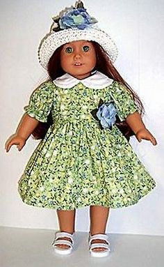 Green Floral Dress & Straw Hat made for 18