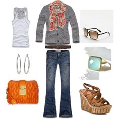 Orange, grey and turquoise.. I would lose some of the jewelry change the scarf up a little but cute!