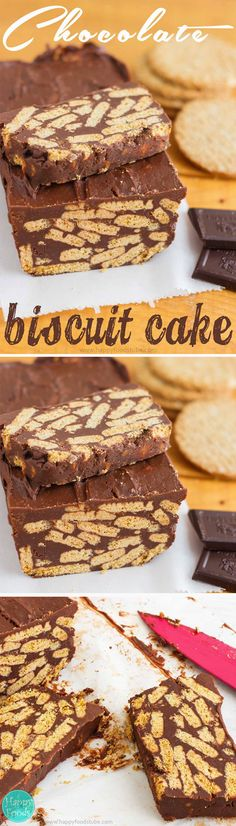 No Bake Chocolate Biscuit Cake - Only 4 ingredients, no baking whatsoever, flourless, eggless but still yummy dessert recipe. Super easy! ♡ | happyfoodstube.com