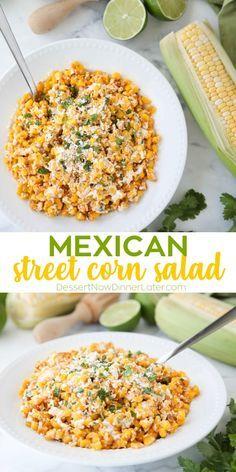 Mexican Corn Side Dish, Mexican Street Corn Salad, Best Mexican Street Corn Recipe, Roasted Corn Salad, Easy Mexican Dishes, Mexican Street Food, Roasted Onions, Corn Salad Recipes, Mexican Food Recipes