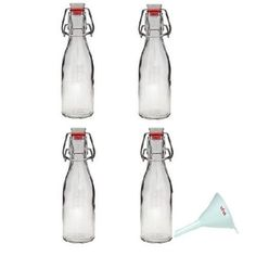 Kleine Flaschen, die sind so toll, um Essig & Co. herzustellen - letzte Errungenschaft: Himbeeressig, möchte die Flaschen nimmer missen. Viva-Haushaltswaren - 4 Glasflaschen 200ml mit Bügelverschluss zum Selbstbefüllen inklusive einem Einfülltrichter Durchmesser 7 cm