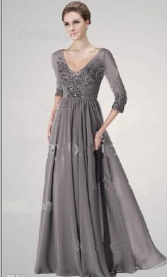 2014 Hot Mother Of Bride Dress Evening Gowns Sexy Gray V Neck 3 4 Long Sleeves Sequins Beaded Ruffles Gorgeous Chiffon Prom dress Mob Dresses, Trendy Dresses, Formal Dresses, Chiffon Dresses, Girls Dresses, Mother Of The Bride Dresses Long, Mothers Dresses, A Line Evening Dress, Evening Dresses
