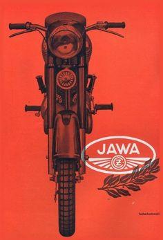 JAWA motorcycle advertising poster from Advertisement Images, Vintage Advertisements, Vintage Ads, Vintage Posters, Advertising Poster, Retro Posters, Vintage Type, Vintage Ephemera, Bike Poster