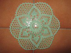 Lot Napperon Crochet Fait Main - vert- Diamètre 20 - 4.00 Euros