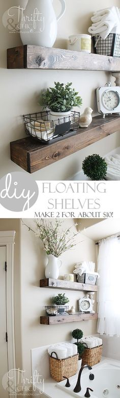 Your Farmhouse home decor is going to absolutely LOVE these gorgeous Farmhouse DIY Floating Shelves created by Alicia over at Thrifty and Chic. Now get thisshe made both of these shelves for about $10how great is that. I can hear your brain wheels spi