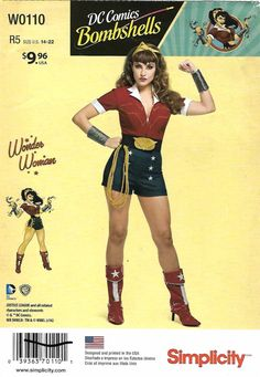 Simplicity Sewing Pattern W0110 0110 8196 Misses Size 14-22 DC Comics Bombshell Wonder Woman Costume    Simplicity+Sewing+Pattern+W0110+0110+8196+Misses+Size+14-22+DC+Comics+Bombshell+Wonder+Woman+Costume