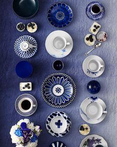 indigo, tea time, pattern, color, teas, white, plate, teacups, blues