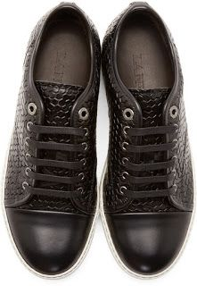 Enlightenment For The Feet: #Lanvin Black Leather Labyrinth #Sneakers | #SHOEOGRAPHY