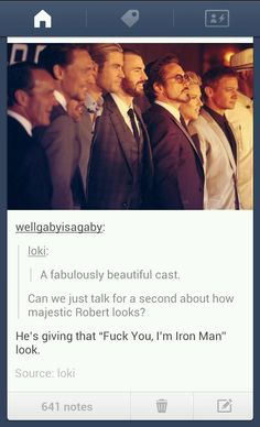 """And Tom Hiddeson's all """"Hello Darling"""" and Chris Evans has his Captain America smile and Jeremy Renner is just standing on the end, resting his face..."""