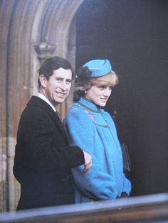 December 25, 1985: Prince Charles & Princess Diana at St Georges Chapel for morning service.