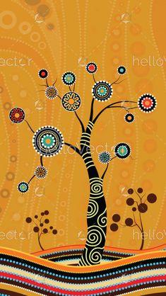 Tree on the hill, Aboriginal tree, Aboriginal art vector painting with tree. Aboriginal Art For Kids, Native Art, Aboriginal Dot Painting, Art Painting, Dots Art, Wall Art Prints, Australian Art, Dot Art Painting, Art