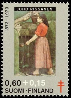 Postage stamp depicting a painting by the Finnish artist Juho Rissanen