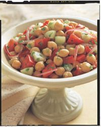 Mediterranean Chickpea Salad - I replaced the parsley with cilantro, just because I prefer the taste♥