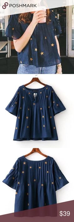 """Star print bell shape top Material: rayon. - [ ] Shoulder/ bust/length  - [ ] S:15.4""""/40.2""""/20.8"""" - [ ] M:15.8""""/41.7""""/21.4"""" - [ ] L:16.2""""/43.3""""/21.8"""" Tops Blouses"""