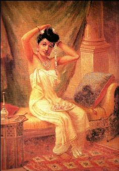 Reprints of Raja Ravi Varma Paintings: A Malaylee Lady in Dressing Room Adorning Her Hair with a Garland of Jasmine Mf Hussain Paintings, Ravivarma Paintings, Indian Paintings, Painting Prints, Indian Artwork, Famous Indian Artists, Raja Ravi Varma, Art Analysis, Indian Literature