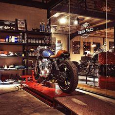 Man Cave Garage The Family Handyman Garage Cafe, Barn Garage, Man Cave Garage, Garage Shop, Garage Workshop, Dream Garage, Motorcycle Workshop, Motorcycle Store, Motorcycle Garage