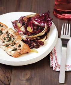Halibut with Sauteed Radicchio from realsimple.com #myplate #protein #vegetables