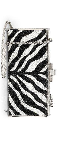 JUDITH LEIBER Black Slender Curve Fullbead Box Clutch zebra