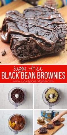 A delicious and easy recipe for sugar-free black bean brownies - your kids will never believe that this protein-packed dessert is actually good for them! Recipes casserole Your kids won't believe the secret ingredient in these FUDGY (black bean) BROWNIES Sugar Free Desserts, Sugar Free Recipes, Healthy Dessert Recipes, High Protein Desserts, Vegetarian Recipes, Flour Recipes, Bar Recipes, Recipes Dinner, Healthy Brownies