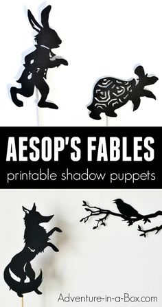 Based on Aesop's fables, these printable shadow puppets will let your kids make their version of three fables (Hare and Tortoise, Fox and Crow, and Fox and Crane) and stage a shadow play at home or in the classroom! #puppets #homeschool #earlyliteracy #kidsactivities #preschool