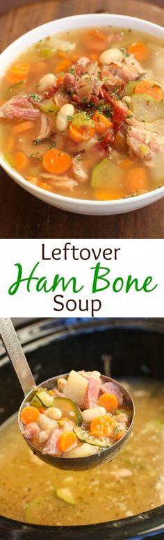 Slow Cooker Leftover Ham Bone Soup - Tastes Better From Scratch Ham Bone Soup, Ham Soup, Chicken Soup, Leftover Ham Recipes, Leftovers Recipes, Dinner Recipes, Dinner Menu, Dinner Ideas, Pork Recipes