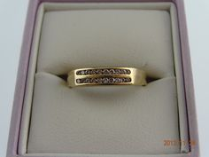 Gold Pre Loved 9ct Solid Yellow Gold 20Diamond Band 2.3grms | eBay