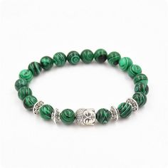 1PC Unisex Women Men Elastic Buddha Sliver Malachite Energy Natural Stone Beads Yoga Bracelet Bangle Nice Gift