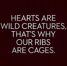 Hearts Are Wild Creatures That's why our ribs are cages.......