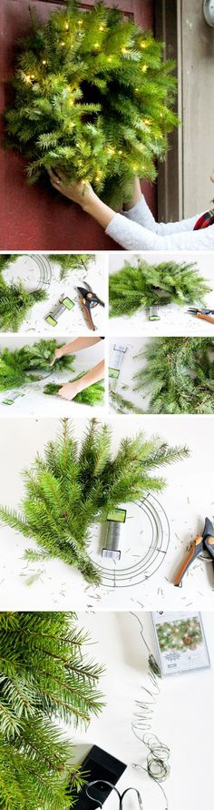 Fresh Christmas Wreath Tutorial More More Source by suzymz Decoration Christmas, Christmas Wreaths To Make, Noel Christmas, Holiday Wreaths, Xmas Decorations, Christmas Projects, Winter Christmas, Christmas Ornaments, Christmas Music