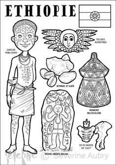 Ethiopia paper doll to color Geography For Kids, Teaching Geography, World Geography, Colouring Pages, Coloring Pages For Kids, Adult Coloring, Coloring Books, Around The World In 80 Days, People Of The World