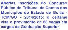 O Tribunal de Contras dos Municípios do Estado de Goiás, divulga editais para realização de Concurso Público que visa o provimento de 68 (sessenta e oito) vagas + formação de cadastro de reserva em cargos de Graduação Superior pertencentes ao Quadro de Pessoal do Tribunal. Os vencimentos podem chegar ao valor de R$ 26.589,68.