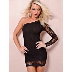 Shop Sexy One-shoulder Mini Dress Lace Sexy Clubwear on sale at Tidestore with trendy design and good price. Come and find more fashion Sexy Dresses here. Sexy Dresses, Cute Dresses, Casual Dresses, Clubbing Dresses, Prom Dresses, Mini Dress Clubwear, Clubwear Dresses, Chemise Dress, Lace Dress