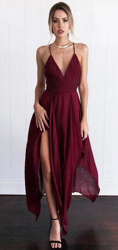Chiffon Prom Dress,Cheap Prom Dress,Cross Back Prom Dresses,Wine Red Prom Dresses,Assymetrical Prom Dress, Long /Evening Dress,Spaghetti Straps Prom Dresses,V-neck Prom Dress
