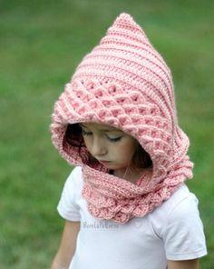 Crocodile stitch hood (kids size) crochet pattern by Bonita Patterns