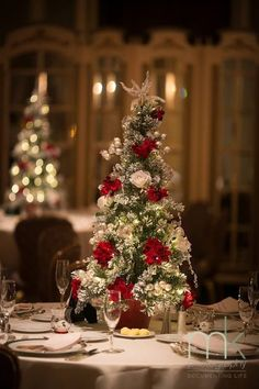 Mini version of Christmas tree for wedding centerpieces!