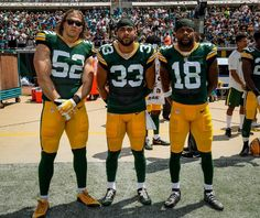 9/11/2016 Team Captains-Clay Matthews (nice shades Dude), Micah Hyde and Randall Cobb.