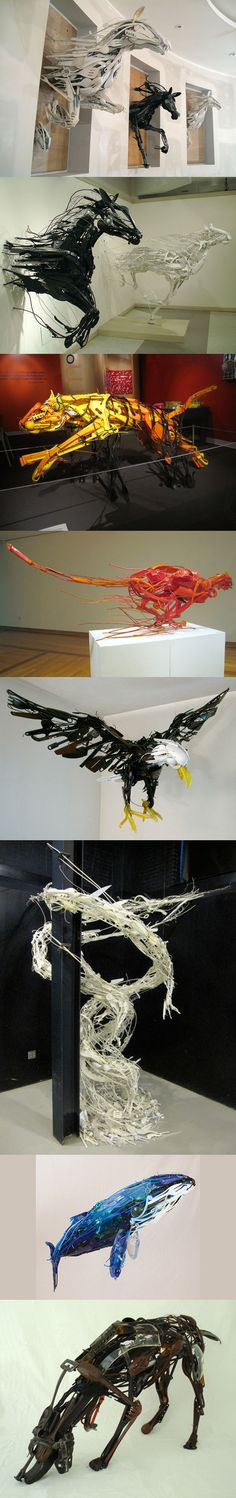 Sayaka Ganz uses common plastic and metal objects to build his sculptures --- look closely