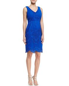 Sleeveless Embroidered Scallop Bottom Cocktail Dress, Cobalt by Sue Wong at Neiman Marcus.