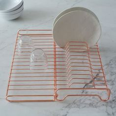 Kitchen Decor Wire Kitchen Foldable Dish Rack - Tired of kitchen accessories that clutter? Our Wire Kitchen Foldable Dish Rack keeps things neat with geometric angles and a deco copper finish. Kitchen Appliance Storage, Kitchen Organization, Kitchen Appliances, Kitchen Cabinets, West Elm, Restauration Hardware, Rose Gold Kitchen, Copper Kitchen Decor, Copper Kitchen Accents