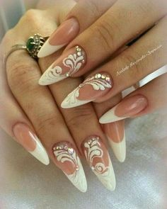 Cool 47 Creative Wedding Nails Ideas For Bride. More at www.c… Cool 47 Creative Wedding Nails Ideas For Bride. More at www. Natural Wedding Nails, Simple Wedding Nails, Wedding Manicure, Wedding Nails Design, Cute Nails, My Nails, Nail Art Designs, Bridal Nail Art, Bride Nails
