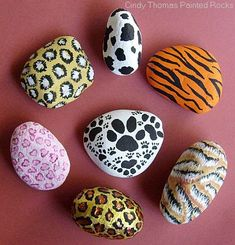 A fun, easy rock painting project is animal prints.