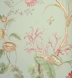 Mauritius Wallpaper Sea creature inspired floral wallpaper, rose on duck egg.