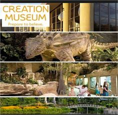 Creation Museum = Bring the pages of the Bible to life, casting its characters and animals in dynamic form and placing them in familiar settings. Adam and Eve live in the Garden of Eden. Children play and dinosaurs roam near Eden's Rivers. The serpent coils cunningly in the Tree of the Knowledge of Good and Evil. Majestic murals provide stunning backdrops.  Located at: 2800 Bullittsburg Church Rd. Petersburg, KY. Admission $30/Adult & $16/Child