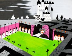 """Mary Blair Alice in Wonderland """"Queen of Hearts Castle"""" Concept Painting Original Art (Walt Disney, - Available at 2014 July 1 - 2 Animation Art. Mary Blair, Rabbit Illustration, Illustration Art, Alice In Wonderland 1951, Disney Artists, Visual Development, Decoration, Illustrations Posters, Illustrators"""