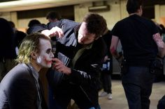 Heath Ledger behind the scenes 'The Dark Knight'.