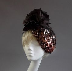 Brown copper  sequined percher hat with by MarcusArtandFashion