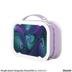 Purple meets Turquoise, Fractal Art Lunch Box
