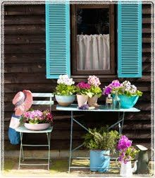Beautiful Colours Outside: Turquoise Pots and a gardening spot. Would paint walls white though