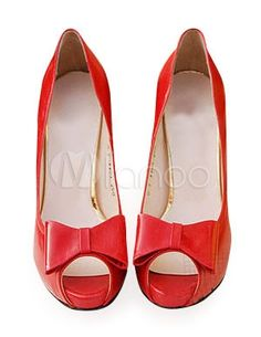 4 1/10\\'\\' High Heel Red Peep Toe PU Bowknot Fashion Shoes by Milanoo
