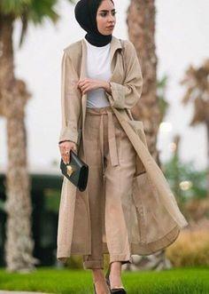neutral hijab long cardigan